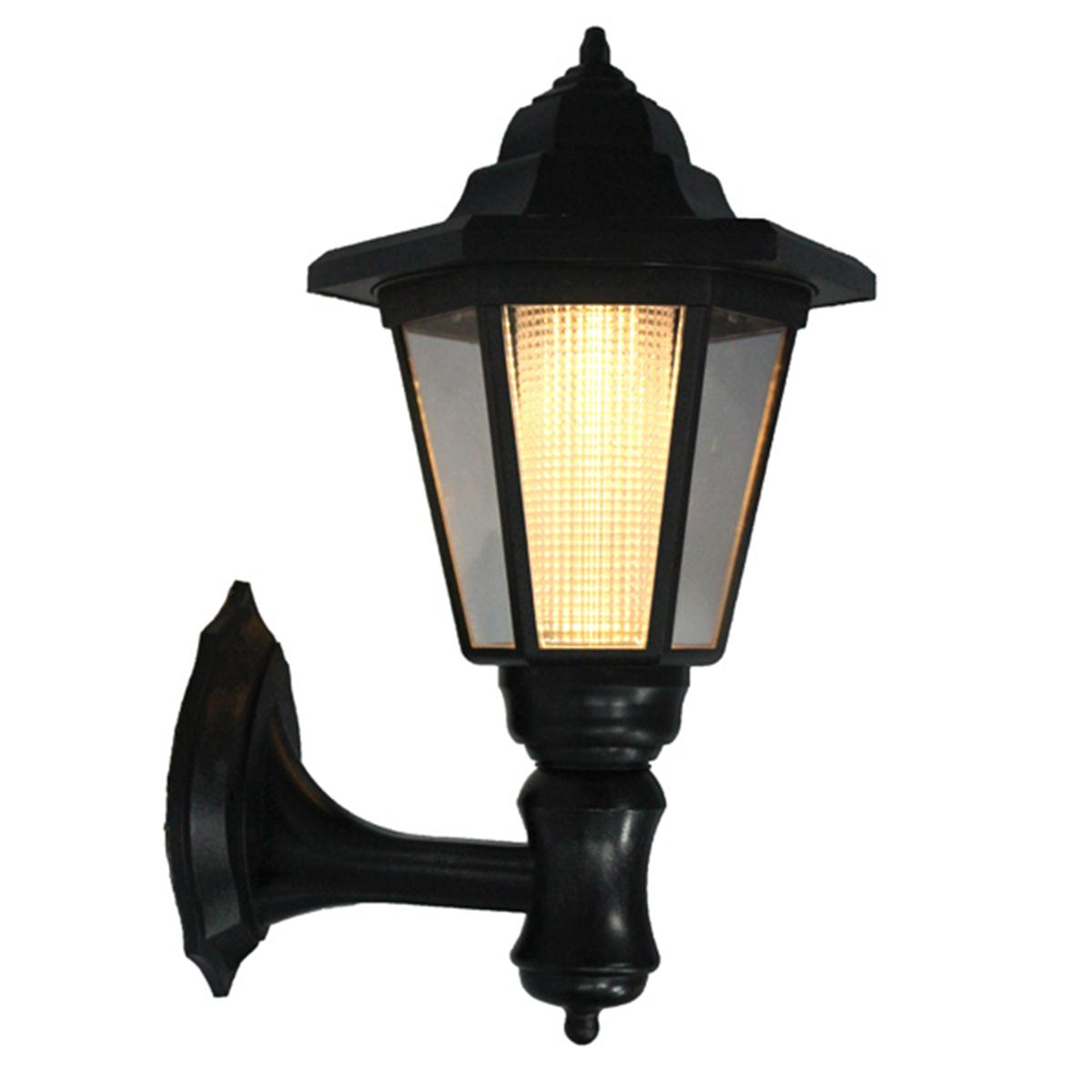 LED Solar Power Wall Lantern Lamp Sun Lights Automatic Sensor,White/ Yellow Lights, For Garden Pathway Landscape Courtyard