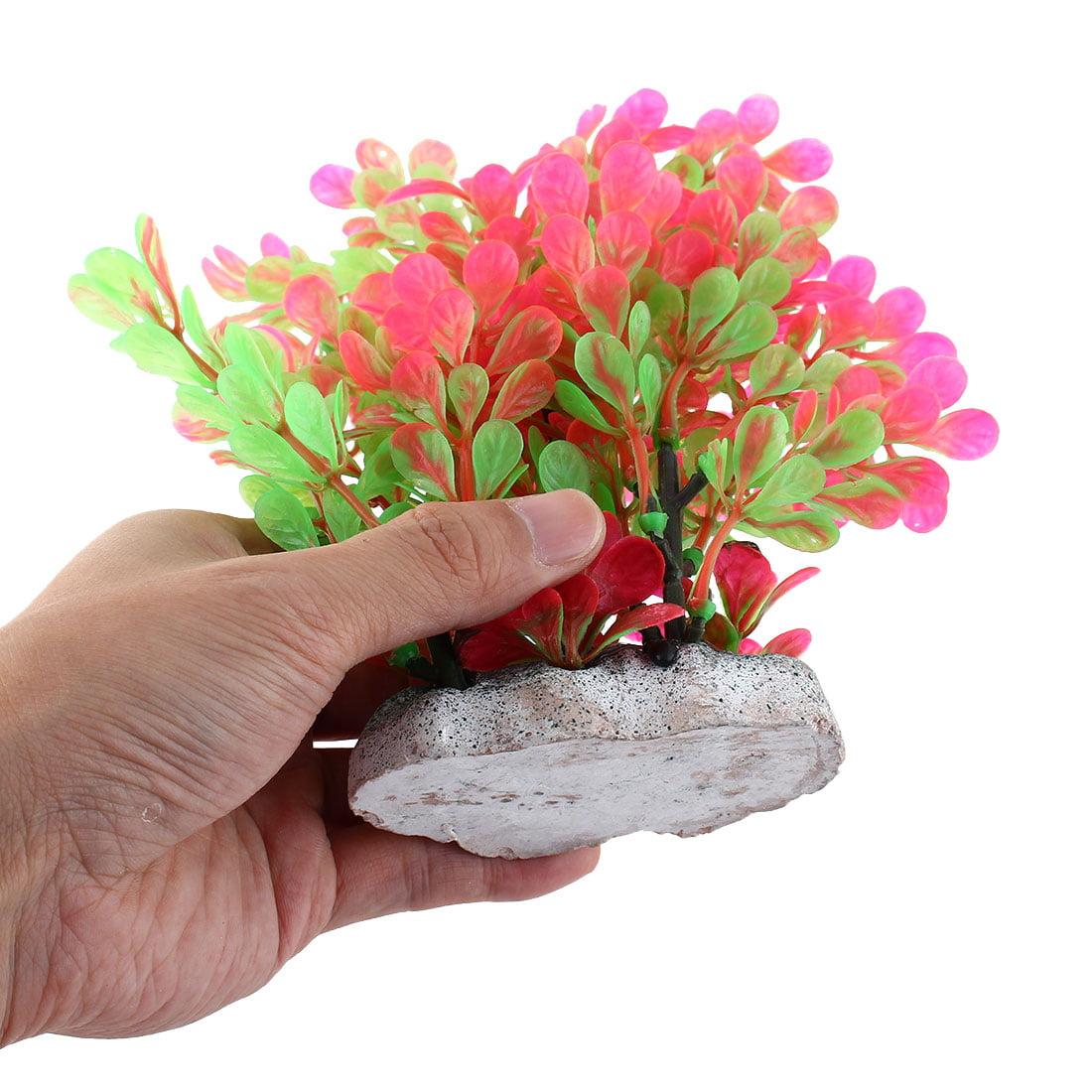 Aquarium Artificial Plant Adornment Landscape Manmade Water Ornament Green Pink - image 2 de 3