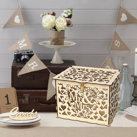 Wedding Card Box with Lock DIY Money Wooden Gift Boxes For Birthday -
