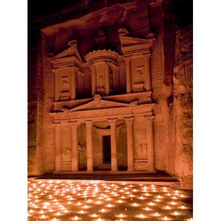 Heritage Candle (Candle Lit Courtyard of the Treasury (Al Khazneh), Petra (Unesco World Heritage Site), Jordan Print Wall Art By Michele Falzone )