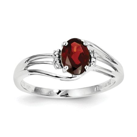 Sterling Silver Rhodium Plated Diamond and Garnet Oval Ring