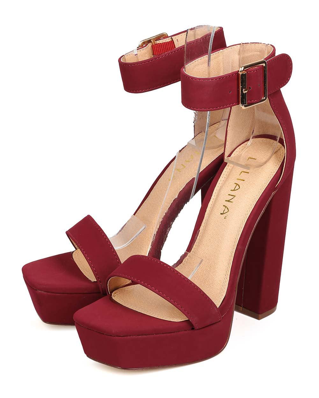 1f41a6654a0 Liliana - Liliana EH08 Women Nubuck Open Toe Ankle Strap Block Heel Platform  Sandal - Walmart.com
