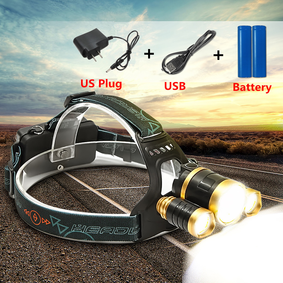 80000Lm 3x T6 LED Rechargeable Headlight Headlamp Lamp Torch+18650+Charger SET