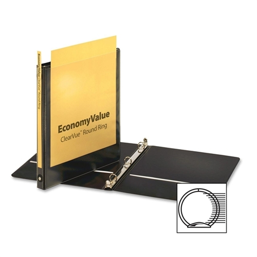 Cardinal Brands, Inc EconomyValue ClearVue Round-Ring Binders, Non-locking, 5/8'' Capacity, Black