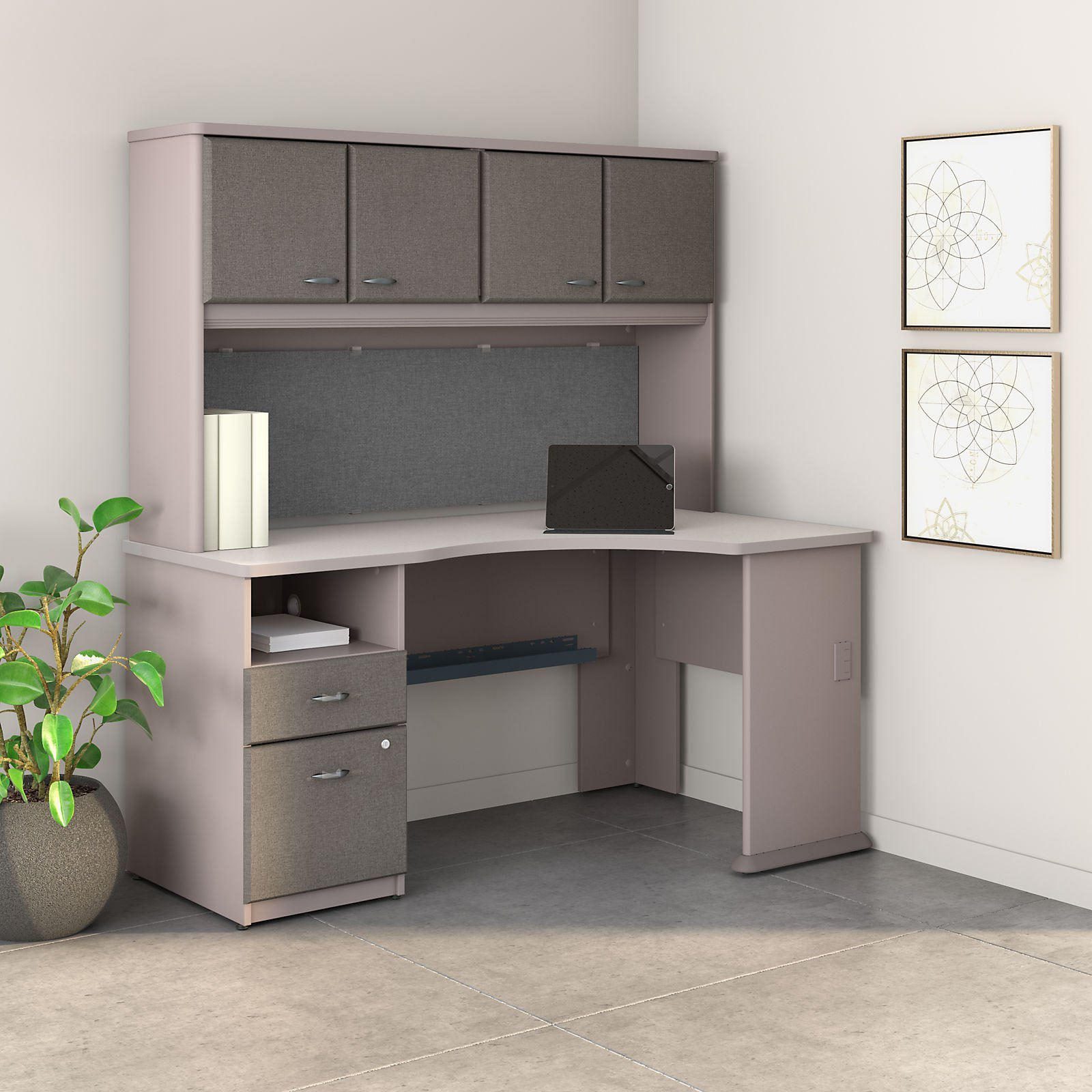 Bush Furniture Series A 60 in. Corner Desk with Hutch and File Cabinet