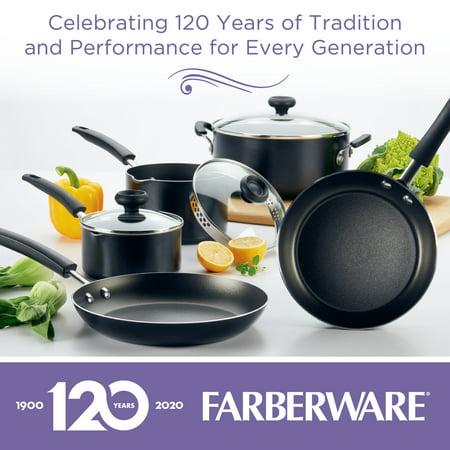 Farberware 3-Quart Aluminum Non-Stick Straining Saucepan With Lid, Black