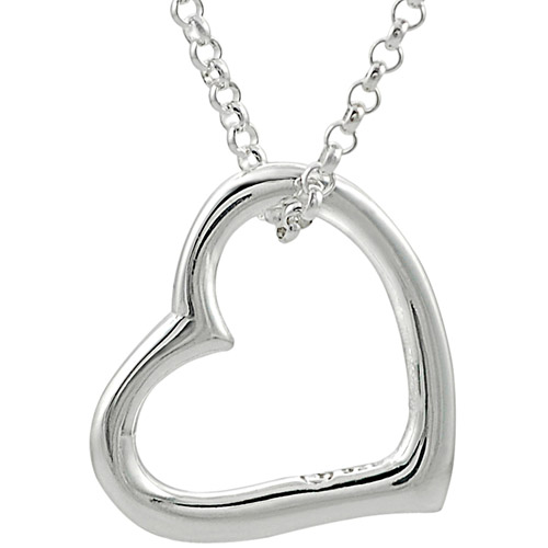"""Brinley Co. Sterling Silver Floating Heart Pendant, 18"""""""