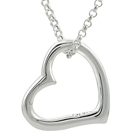 Brinley Co  Sterling Silver Floating Heart Pendant  18