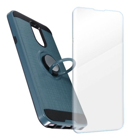 - MUNDAZE LG Stylo 4 Case Brushed Ring Stand Cover Blue, Tempered Glass Screen Protector