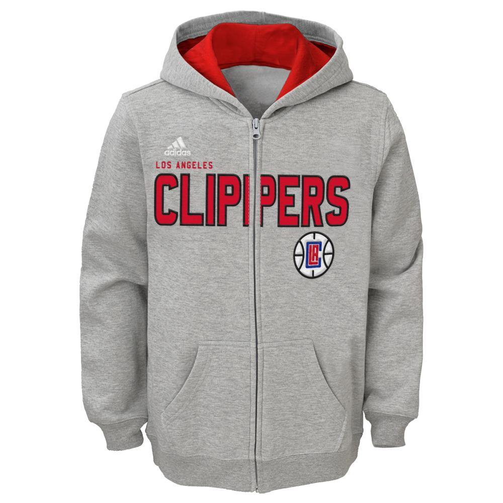Los Angeles Clippers Youth Stated Full Zip Hoodie (Gray)