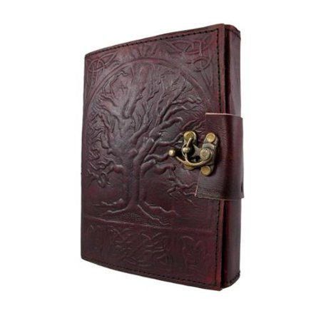 Embossed Leather Tree Of Life 120 Page Unlined Dream Book Journal w/ Lock (Tree Of Life Journal Lock)