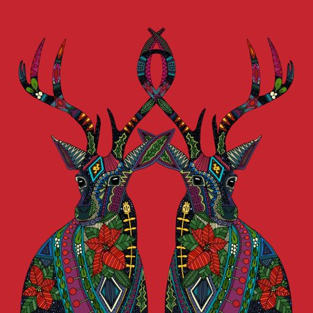 - Poinsettia deer red Poster Print by Sharon Turner