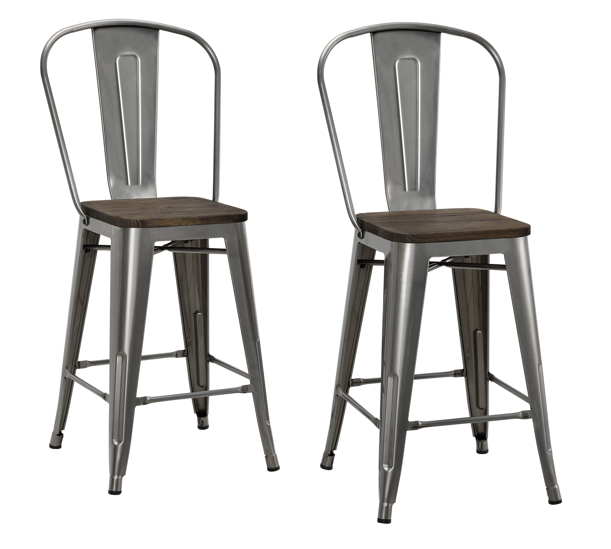 Tremendous Dhp Luxor 24 Metal Counter Stool With Wood Seat Set Of 2 Beatyapartments Chair Design Images Beatyapartmentscom