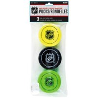 Franklin Sports NHL 2 Inch EVA Foam Knee Hockey, Mini Pucks, 3 Pack, Multi-Color