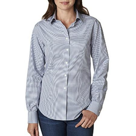 Van Heusen Ladies Long Sleeve Yarn Dyed Gingham Check   Ash   M V0226