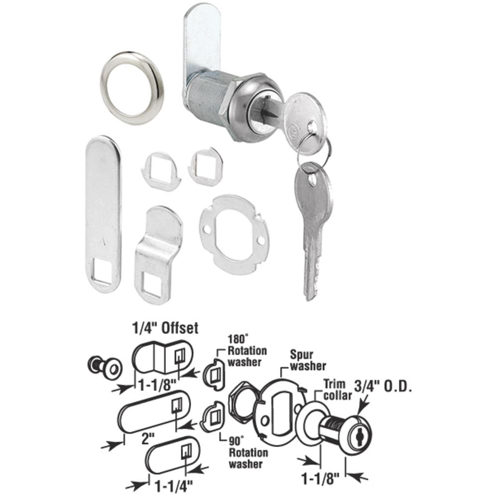 Prime Line Products U9945 Chrome Finish Drawer and Cabinet Lock, 1-1/8""