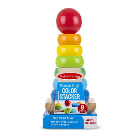 Wooden Toy Rings - Melissa & Doug Colored Rings Wooden Stacker (8 pcs)
