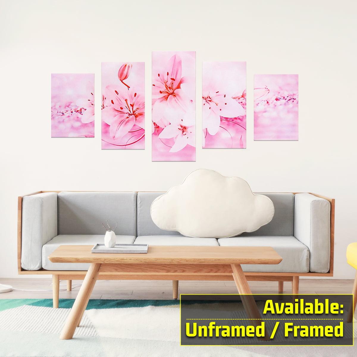 5pcs Modern Abstract Flower Canvas Painting Print Picture Wall Art Decor Living Room Bedroom Home Decoration Framed Unframed Walmart Com Walmart Com