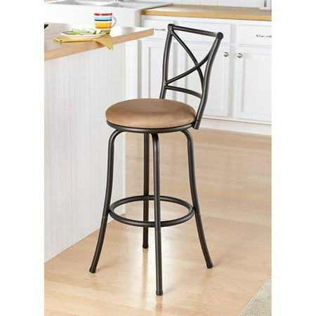 "Mainstays 29"" Swivel X-Back Hammered Bronze Barstool"