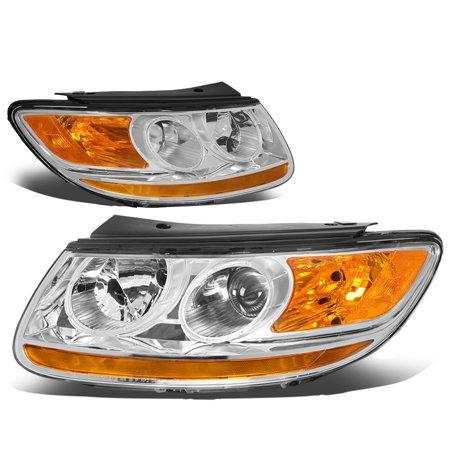 For 2007 to 2012 Hyundai Santa Fe Pair Factory Style Black Housing Amber Corner Projector Headlight Headlamps 08 09 10 (2007 Hyundai Santa Fe Limited Towing Capacity)