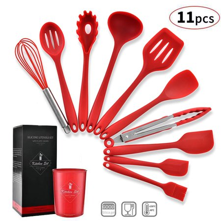 Jeobest Kitchen Utensil Set - Kitchenware Utensils - Cooking Utensils Set -  11PCS Silicone Kitchen Utensils Cooking Utensils Set with Utensils Holder  ...