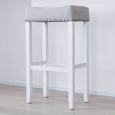 Logo Fabric Bar Stool - Hylie Wood Pub-Height Kitchen Bar Stool, 29