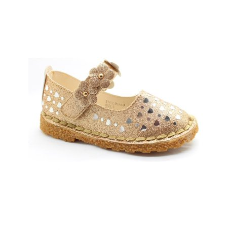 Little Girls Gold Glitter Heart Floral Accent Dress Shoes - Glitter Shoes Girls