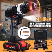 Cordless Drill with Battery, Electric Screw Driver Set (Max Torque 28Nm, 2-Speed) for Home Improvement & DIY Project