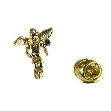 September Rhinestone Birthstone Angel Lapel Pin Guardian Protector Ti... September Birthstone Angel Pin