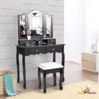 Jaxpety Black Vanity Makeup Dressing Table Stool Set Tri Folding Mirror Home Furniture with 4 Drawers