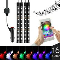 TSV 4x9 Car Atmosphere LED 16 Colors RGB Light Strip Phone App Music Control Interior Kit