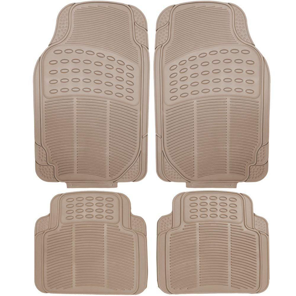 Heavy Duty Rubber Front and Rear Truck Sedan SUV Floor Mats (Beige)