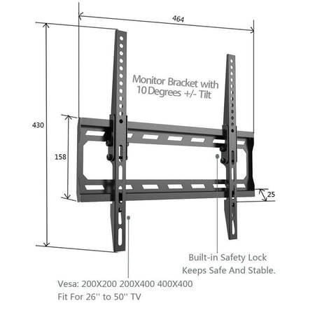 TV Wall Mount Angle free Tilt Mount w/Safety Lock for TV 26 to 50inch - image 4 of 6