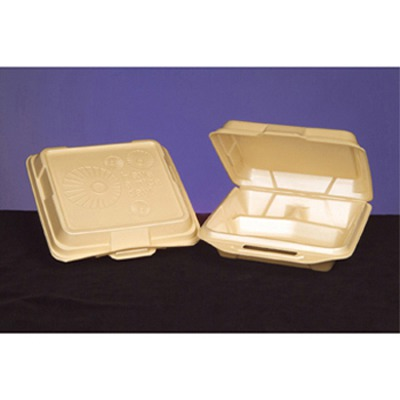 Foam Hinged Carryout Container, 3-compartment, 9-1/4x9-1/4x3, Sesame, 100/bag...