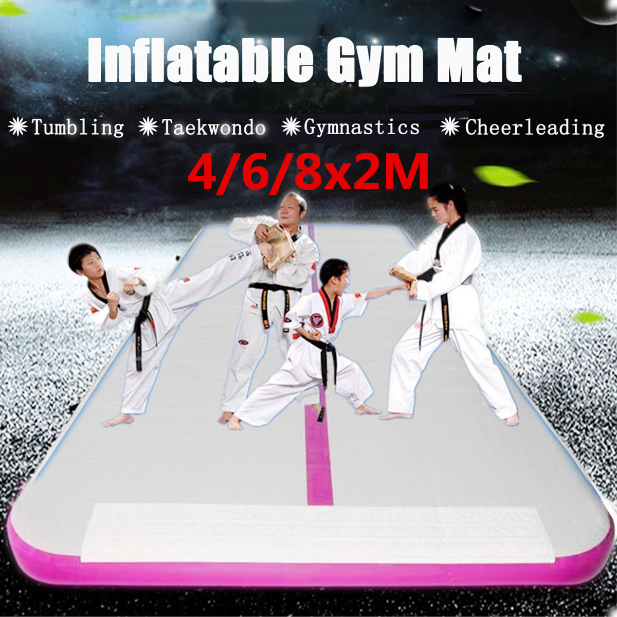 13-26ft PVC Inflatable Gym Mat Air Tumbling Track Gymnastics Cheerleading +Pump