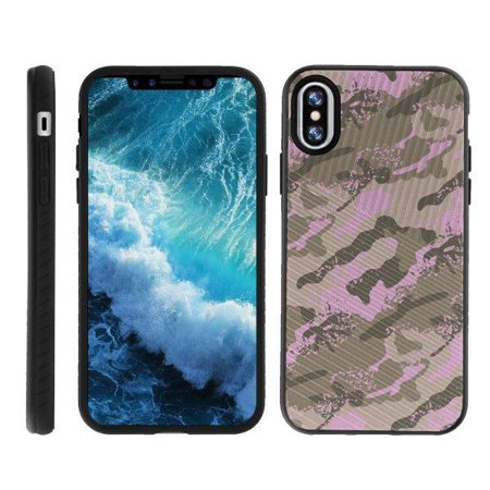 TurtleArmor ? | For Apple iPhone X A1901, A1865 | Apple iPhone 10 [Grooved Case] Shockproof Armor Engraved Grooves Slim Case - Army Pink Camouflage