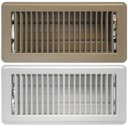 4 x 14 White Stamped Steel Floor Register ()