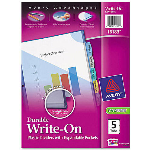 Avery Durable Write-On Plastic Dividers with Pockets, 8-Tab Set