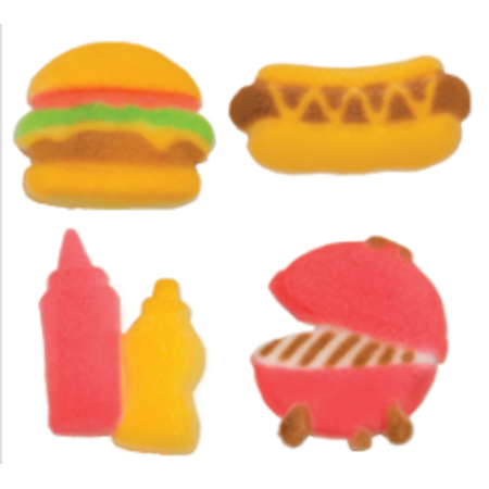 Set of 12 Summer BBQ 1 1/4inch - 1 1/2inch Edible Sugar Cake & Cupcake Decoration Toppers (Barbecue Decorations)