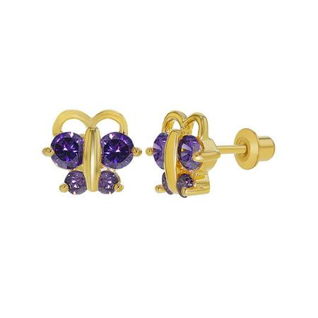 18k Gold Plated Purple Crystal Tiny Butterfly Screw Back Earrings Children Kids