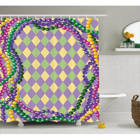 Mardi Gras Shower Curtain Celebration Beads In Vibrant Graphic Style On Diamond Line