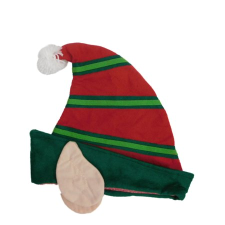 Adults Mens & Womens Red & Green Felt Christmas Elf Ears Santa Claus Hat - Green Santa Hats
