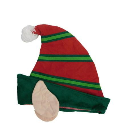 Adults Mens & Womens Red & Green Felt Christmas Elf Ears Santa Claus - Womens Santa Hat