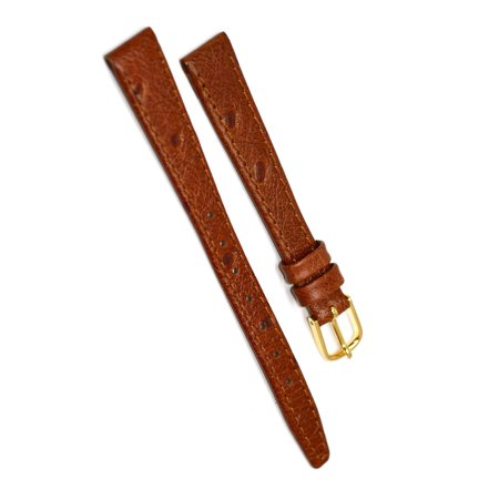12mm Brown Ostrich Grain Tapered Leather Watch Band -