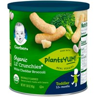 (6 Canisters) Gerber Lil' Crunchies Organic PlantsYum! Baked Snack Made with Beans, 1.59 oz.