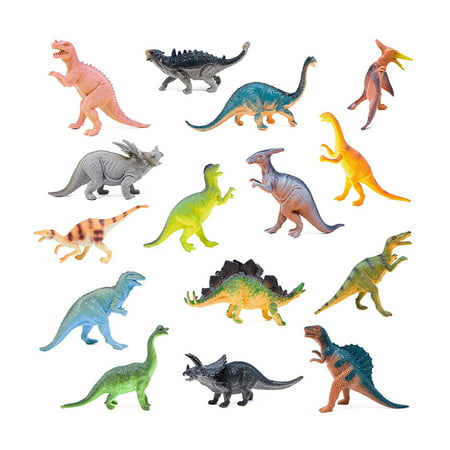 Plastic Wristbands Variety Pack (BOLEY Monster 15 Piece Dinosaur Figures - 7 inch)