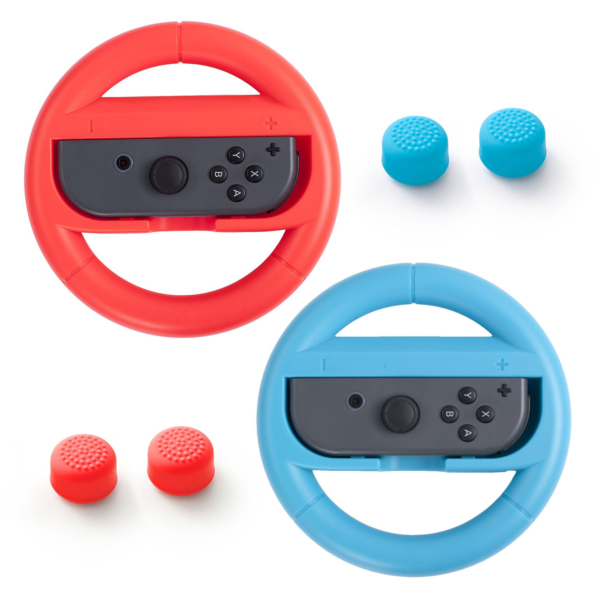 Insten 2-pack Joy-Con Controller Steering Wheel Durable Handle Grip + Analog Thumbstick Cap for Nintendo Switch