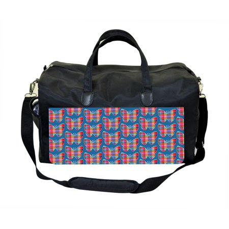 Plaid Butterflies Print Design Large Black Duffel Satchel Style Therapy Supplies / Therapist's Bag