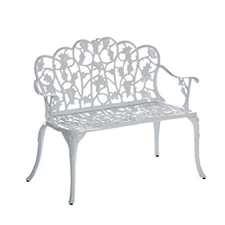 plow & hearth two seat metal garden bench with grape vine design, powder-coated cast aluminum, white, 38 1/2 in l x 17 1/4 in w x 33 1/2 in h