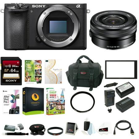 Sony a6500 Mirrorless ILC Camera w/ 16-50mm f/3.5-5.6 Zoom Lens Bundle